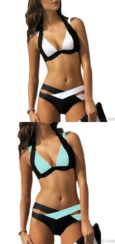 e036c1d760945 Sexy Women s Summer Swimsuit Contrast Color Crossover Strap Halter Bikini  for big sale!  sexy