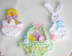 Crocheted Applique Pin Magnet Fridgie Easter Bunny chick egg basket. $9.99, via Etsy.