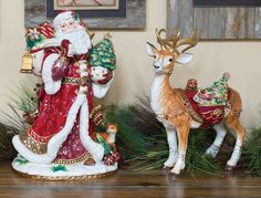Renaissance Holiday Santa and Deer Hand Painted Ceramic Figurines by Fitz and Floyd Christmas China, Christmas Tables, Holiday Tables, Rustic Christmas, Christmas Decorations, Christmas Jingles, Merry Christmas, Christmas Floral Designs, Holiday Dinnerware