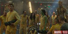 Peter Quill (Chris Pratt), Rocket, Gamora (Zoe Saldana), and Groot in Marvel's Guardians of the Galaxy. Get tickets now: http://fandan.co/1thBrQi