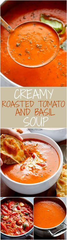 A Creamy Roasted Tomato Basil Soup full of incredible flavours, naturally thicke. - A Creamy Roasted Tomato Basil Soup full of incredible flavours, naturally thickened with no need fo - Roasted Tomato Basil Soup, Roasted Tomatoes, Creamy Tomato Basil Soup, Roasted Red Peppers, Roasted Garlic, Think Food, Food For Thought, Vegetarian Recipes, Cooking Recipes