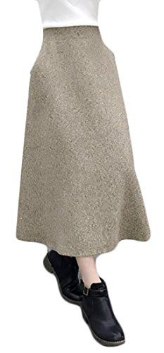 c6d38e6323 ARRIVE GUIDE Womens High Waist A line Wool Lined Winter Flared Midi Skirts  Khaki Large ** Click image to review more details. (This is an affiliate  link)