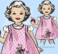 Darling Toddler Jumper Dress or Pinafore Dress Pattern. with an Uncut Transfer Motif for Each Month of the Year. Sewing Patterns Girls, Girl Dress Patterns, Pinafore Dress Pattern, Girls Jumpers, Jumper Dress, Toddler Girl Dresses, Vintage Dresses, 1960s, Vintage Illustrations