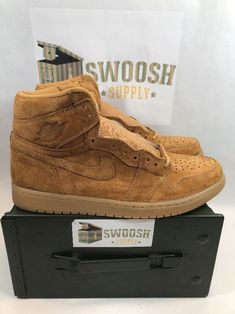 buy online 4cbe8 f2f37 Nike Air Jordan 1 High OG Wheat Flax Golden Harvest Mens Sz 12 14 555088-710   Nike  BasketballShoes