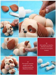 How to make a gorgeous lil fondant puppy. * he's made from cold porcelain, however, you can use the same techniques with fondant/gumpaste Cake Topper Tutorial, Fondant Tutorial, Cake Decorating Techniques, Cake Decorating Tutorials, Fondant Animals, Animal Cakes, Dog Cakes, Fondant Decorations, Modeling Chocolate