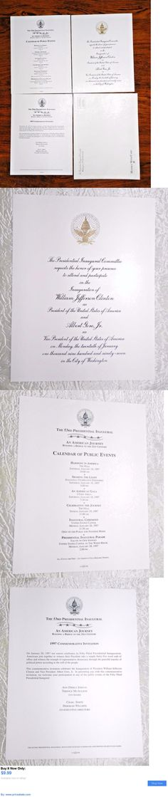 Bill Clinton 1997 William Bill Clinton Presidential Inauguration - best of invitation samples for inauguration