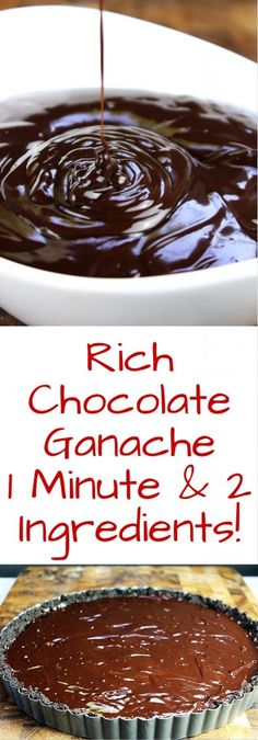 When I say one minute I am not even kidding! One solitary minute in the microwave and you've made this amazing, rich chocolate ganache. Totally versatile you can use it to top ice cream, cookies, cakes, tarts or you can use it like a fondue for berries or Chocolate Ganache Icing, Chocolate Topping, Chocolate Desserts, Ganache Frosting, Whipped Frosting, Chocolate Chocolate, Chocolate Cupcakes, Just Desserts, Delicious Desserts