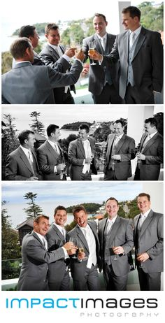 The groom and the groomsmen wearing their wedding suits. Wedding Photographer on the Central Coast by Impact Images - www.impact-images.com.au
