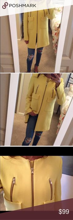 Zara Yellow Mid Length Coat Size Small. Excellent condition and GORGEOUS. Just doesn't fit me, hard to give up.! Zara mid-length coat with gold zippers. It's a beauty so don't pass up. Zara Jackets & Coats
