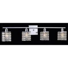 @Overstock.com - Four-light Chrome/ Crystal Wall Sconce - Add sparkle, flare, movement, and pizzazz to the look of your room with this sophisticated wall sconce. A classic four-light design adds stellar light to any space while elegant crystals accessorize it to perfection.  http://www.overstock.com/Home-Garden/Four-light-Chrome-Crystal-Wall-Sconce/5811472/product.html?CID=214117 $103.49