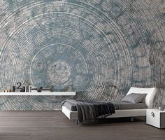 Stunning grunge circle mural in wonderful warm brown. Also available in blue/grey.Produced on high quality non woven 'linen' wallpaper, in numbered rolls of 60 cm. Wall Texture Design, Hall Design, Bedroom Wall, Bedroom Themes, Wall Wallpaper, Modern Bedroom, Textured Walls, Interior Design Living Room, Home Deco