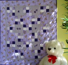 Lavender ABC's  - Handmade baby quilts for girls