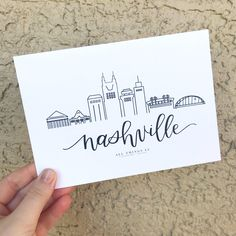 Nashville Tattoo, Nashville City, Nashville Skyline, Cute Writing, Letter Writing, Calligraphy Print, Caligraphy, Doodle Ideas, Doodle Art