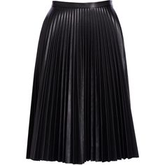 Bagatelle Pliss& Leather Skirt (960 BRL) ❤ liked on Polyvore featuring skirts, saias, bottoms, jupe, real leather skirt, a-line skirts, pleated leather skirts, leather a line skirt and knee length pleated skirt