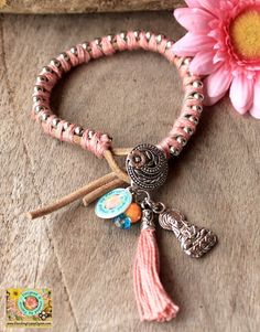 Friendship lucky leather bracelet in  Pink by DazzlingGypsyQueen, €27.95