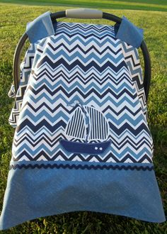 FREE SHIPPING**Infant Car Seat Canopy in Blue and White Chevron. Appliqued Sailboat. Nautical. Boy by TeresasSewingCorner on Etsy