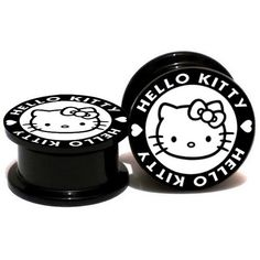 New Quality Black Double Flared Hello Kitty Ear Tunnel Various Sizes UK Seller