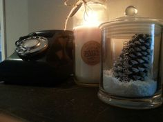 Christmas is nearly here! My fake snow and pinecone jar, anvil creek candle & bakelite phone #loveit #christmas
