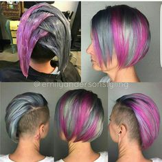 Who loves a good processing photo ?, Who loves a good processing photo ? Creative Hair Color, Cool Hair Color, Purple Hair, Ombre Hair, Ombre Bob, Pelo Multicolor, Hair Color Techniques, Funky Hairstyles, Rainbow Hair