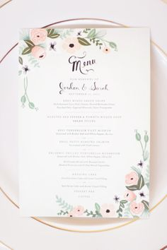 Wedding menu (maybe try doin something similar for the wedding agenda)