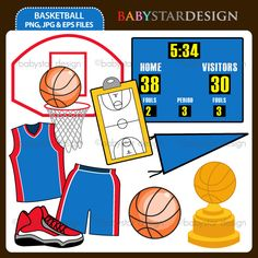 """9 graphic elements of """"Basketball"""" theme. Perfect for your party invitations, craft projects, paper products, stationery, scrapbooking, web designs, stickers and many more!"""