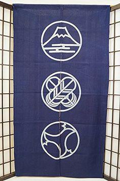 Amazon.co.jp: 暖簾-(のれん) 綿100% 富士鷹茄子-藍 n-629: ホーム&キッチン