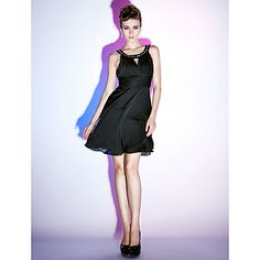 A-line Scoop Knee-length Satin Chiffon Cocktail Dress   – USD $ 99.99