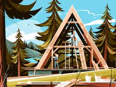 Landscape Illustration, Digital Illustration, House Illustration, Pine Forest, Peterborough, Saint Charles, San Luis Obispo, Solar System, Cute Drawings