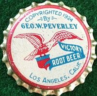 Victory Root Beer, bottle cap   Geo. W. Peverley Company, Pacoima, California USA   cap used 1943-1945