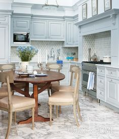 Soft Blue Traditional Kitchen | Photo Gallery: Sarah Richardson Designs | House & Home | Photo by Stacey Brandford