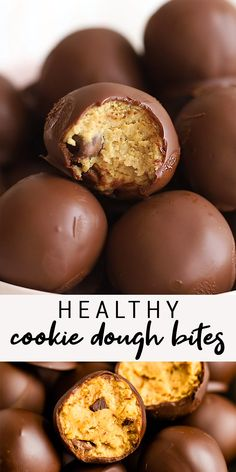 Food ideas 301530137554965553 - Make bites with and protein powder based cookie dough and melted dark chocolate. You'll love having these on hand for a sweet dairy-free treat! Source by cyclothymie Protein Chocolate Chip Cookies, Healthy Cookies, Healthy Sweets, Healthy Dessert Recipes, Healthy Baking, Vegan Desserts, Snack Recipes, Healthy Protein, Easter Recipes Vegan
