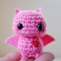 Baby Pink Bat  Kawaii Mini Amigurumi by twistyfishies on Etsy, $10.00