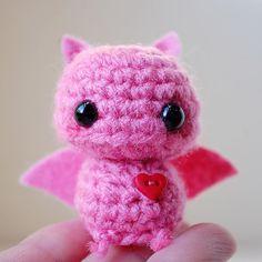 Baby Pink Bat  Kawaii Mini Amigurumi by twistyfishies on Etsy, $10.00