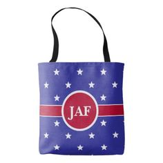 Custom Monogram Red White and Blue Tote Bag - monogram gifts unique design style monogrammed diy cyo customize