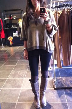 Digging my outfit today for this perfect Fall day. Top - Kiz; leggings - Kiz; boots- Arturo Chiang