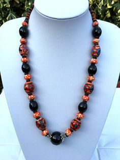Ceramic Beaded Necklace Indian Jewelry Handmade by PureIndianArt