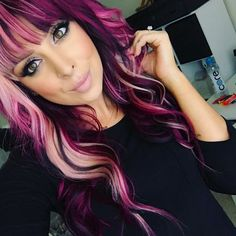 Blond purple pink magenta hair I want her hairrrr Blond purple pink magenta hair I want her hair New Hair Colors, Cool Hair Color, Magenta Hair Colors, Pink Purple Hair, Hair Colours 2018, Pink And Black Hair, Blonde Pink, Ombre Color, Grey Balayage
