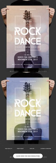 Rock and Dance Flyer  — PSD Template #modern #club • Download ➝ https://graphicriver.net/item/rock-and-dance-flyer/18424703?ref=pxcr