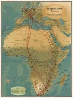 African Map, African History, Vintage Maps, Vintage Wall Art, South African Air Force, Travel Route, Historical Maps, Travel Posters, Airplanes