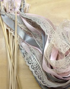 50 Wedding Wands Lace Ribbon Streamers Birthday by craftupyourlife, $50.00
