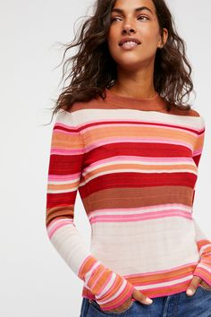 Show Off Your Stripes Pullover | Retro-inspired striped sweater featuring a crew neck.  * Lightweight and super soft * Fitted silhouette