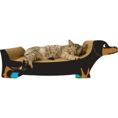 Forget the cat, I'd get this for my doxie to snooze on!     Dachshund Black, $22, now featured on Fab.