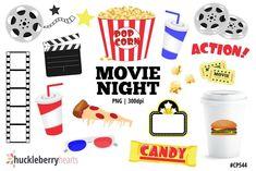 Movie Clipart Movie Night Clip Art Popcorn Clipart Cinema | Etsy Movie Clipart, Planners, Get Netflix, Movie Reels, Pop Corn, Movie Tickets, Huckleberry, Movie Theater, Craft Projects