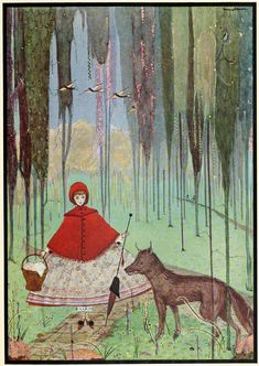 Red Riding Hood with the wolf, from The Fairy Tales of Perrault illustrated by Harry Clarke, 1922