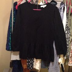 LOFT peplum black sweater Adorable black peplum sweater with zipper back detail. Excellent condition LOFT Sweaters