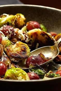 Charred Brussels Sprouts with Grapes and Pancetta