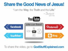 """Share Jesus with others - watch the new """"Jesus by God Stuff Explained"""" video and share via social media, embed on your blog or website - and share the Good News of Jesus Christ"""