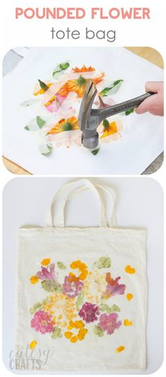 Did you know that you can dye fabric by pounding flowers? This unique craft proj. Did you know that you can dye fabric by pounding flowers? This unique craft project makes a perfect Mother& Day gift – and the kids will love creating it! Kids Crafts, Crafts To Make, Craft Projects, Arts And Crafts, Kids Diy, Craft Tutorials, Project Ideas, Diy Tote Bag, Tote Bags