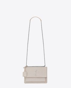 MEDIUM SUNSET BAG IN ICY WHITE CROCODILE EMBOSSED LEATHER$ 2,290.00