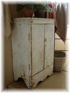 Early-Wood-Farm-House-Spice-Cupboard-w-Original-White-Milk-Paint-AAFA